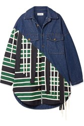 Monse Oversized Canvas And Grosgrain Trimmed Denim And Twill Jacket Navy