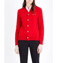 Play V Neck Wool Cardigan Red