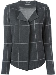 Majestic Filatures Checked Cardigan Grey