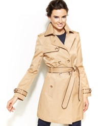 Inc International Concepts Faux Leather Trim Trench Coat
