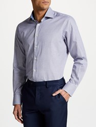 Smyth And Gibson Non Iron Twill Textured Check Contemporary Fit Shirt White Blue