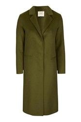 Topshop Wool Butted Seam Coat Olive