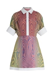 Mary Katrantzou Achilles More Optic Print Silk And Jacquard Dress Orange Multi