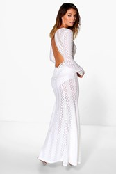 Boohoo Danerys Lace Open Back Maxi Dress White