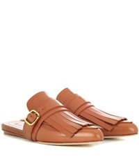Marni Fringed Leather Slippers Brown