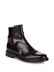 Brioni Leather Strap Ankle Boots Coffee
