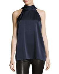 Galvan Satin Tie Neck Sleeveless Top Navy