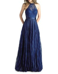 Basix Ii Halter Floor Length Gown Navy