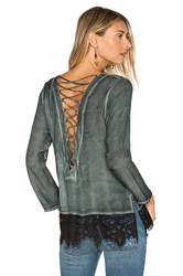 York Street Lace Back Blouse Green