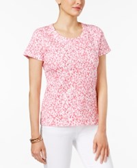 Charter Club Printed Cotton T Shirt Only At Macy's Glamour Pink Combo