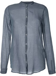 Massimo Alba Micro Pattern Band Collar Shirt Grey