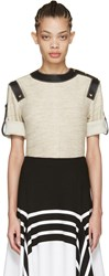 Loewe Ivory Leather Trimmed Top