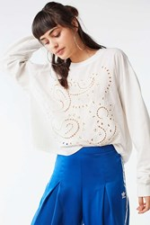 Urban Outfitters Uo Eliot Eyelet Long Sleeve Tee White