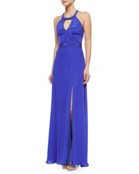 Nicole Miller Halter Keyhole Beaded Gown