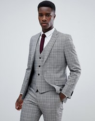 French Connection Heritage Prince Of Wales Check Slim Fit Suit Jacket Grey