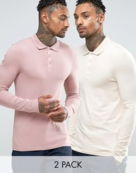Asos Extreme Muscle Long Sleeve Polo 2 Pack Multi