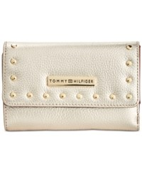 Tommy Hilfiger Studded Pebble Leather Medium Flap Wallet Gold