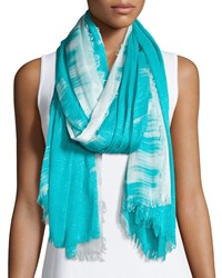 Neiman Marcus Sparkly Ombre Fringe Scarf Bright Turquoise