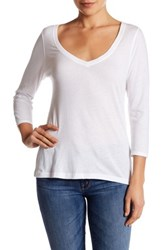 14Th And Union 3 4 Sleeve V Neck Tee White