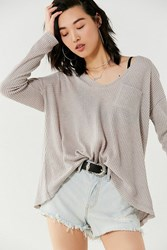 Urban Outfitters Uo Lyla A Line Thermal Long Sleeve Top Grey