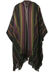 Etro Hooded Stripe Poncho Brown