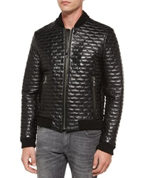 Versace Quilted Leather Blouson Jacket Black