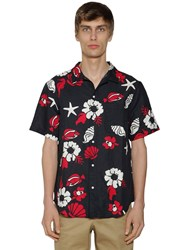 Thom Browne Flowers Print Heavy Voile Cotton Shirt Navy