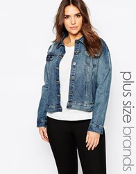Brave Soul Plus Denim Jacket Mid Wash Blue