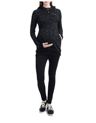 Kimi Kai Maternity Asymmetrical Zip Hooded Sweatshirt Black