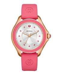 Cape Pink Topaz Watch With Silicone Strap Rose Golden Michele
