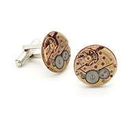 Lc Collection Upcycled Vintage Omega Watch Movements Cufflinks Rose Gold