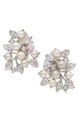 Nina Women's Imitation Pearl And Crystal Clip Earrings