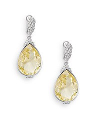 Judith Ripka Bermuda Canary Crystal And Sterling Silver Teardrop Earrings Silver Yellow