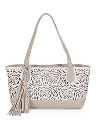Buco Flower Bomb Small Tote White Sand Gold