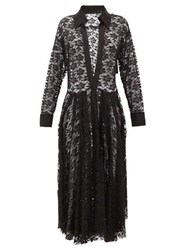Norma Kamali Plunge Neck Floral Lace Shirtdress Black Print