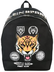 Plein Sport Printed Backpack Men Nylon Polyester Polyurethane One Size Black