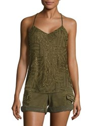 Polo Ralph Lauren Beaded Y Back Tank Top New Olive