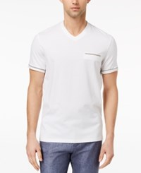 Ryan Seacrest Distinction Men's Slim Fit Stripe V Neck Pocket T Shirt Created For Macy's White
