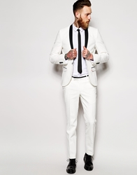 Noose And Monkey Tuxedo Suit Trousers In Skinny Fit Whiteblack