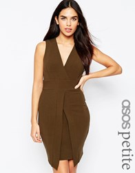 Asos Petite Sleeveless Asymmetric Pencil Dress Purple