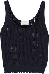 3.1 Phillip Lim Metallic Open Knit Wool Blend Tank Midnight Blue