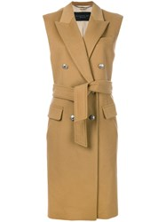 Barbara Bui Sleeveless Tied Double Breasted Coat Viscose Cashmere Wool Nude Neutrals