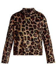 Ashish Leopard Print Sequinned Top Brown