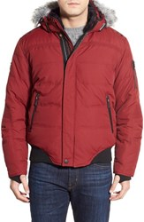 Men's Point Zero Water Resistant Hooded Down Parka With Faux Fur Trim Ruby