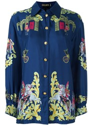 Escada Vintage 'Royal Army' Printed Shirt Blue