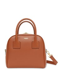 Burberry Small Stripe Intarsia Leather Cube Bag Brown