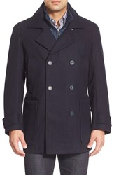 Men's Marc New York By Andrew Marc 'Mulberry' Tall Double Breasted Wool Blend Peacoat Ink Blue