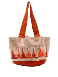 Sophie Anderson Hoyas Woven Tote Bag Orange Multi