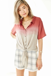 Moon And Sky Moon And Sky Tie Front Button Down Top Burnt Orange