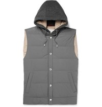 Brunello Cucinelli Quilted Shell And Cashmere Hooded Down Gilet Gray